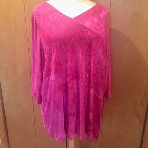 2X Catherines Hot pink boho top with sequins